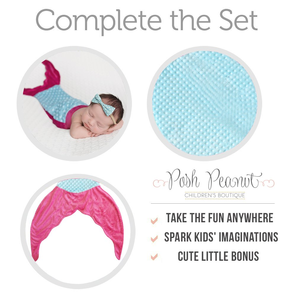 Posh Peanut Mermaid Blanket For Kids - Comfortable Blankie for Children Ages 3-13 with FREE Toy Doll Tail Blanket (Turquoise/Pink) by Posh Peanut (Image #5)