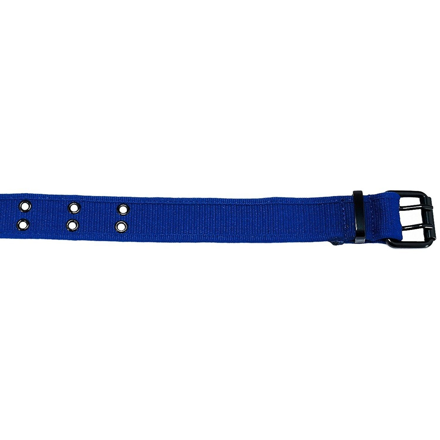 XL - 39//42, Blue Double Hole Grommets Canvas Web Belt with Forged Black Buckle for Men /& Women