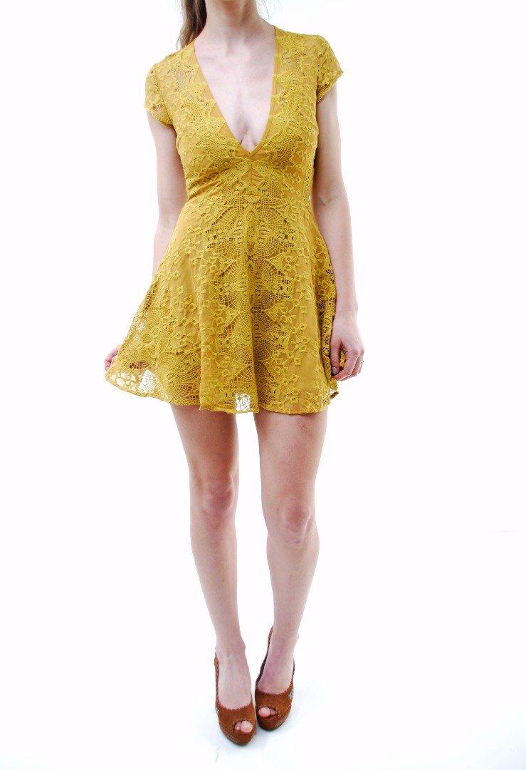 For Love & Lemons Women's New Sienna Mini Short Sleeve Dress Mustard Size M