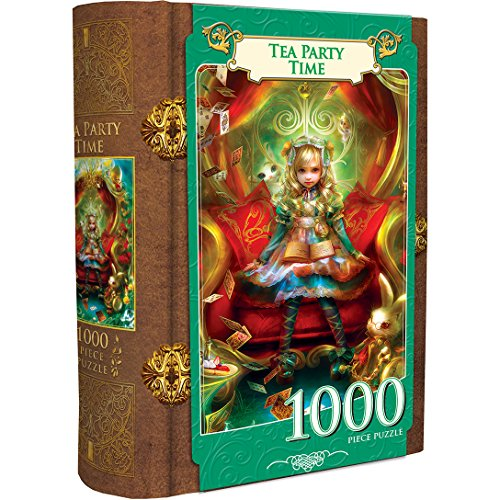 MasterPieces Book Boxes Fairytale Jigsaw Puzzle, Alice in Wonderland, Tea Party Time, Collectible Box with a Magnetic Closure, 1000 Pieces (Facts About Alice From Alice In Wonderland)
