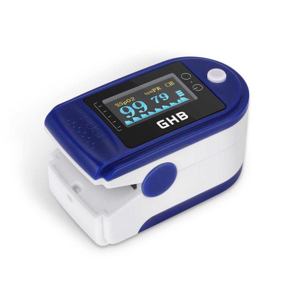 GHB Pulsímetro Oxímetro de Pulso y Monitor de Ritmo La Saturación de Oxígeno con Pantalla OLED de lectura (Azúl)