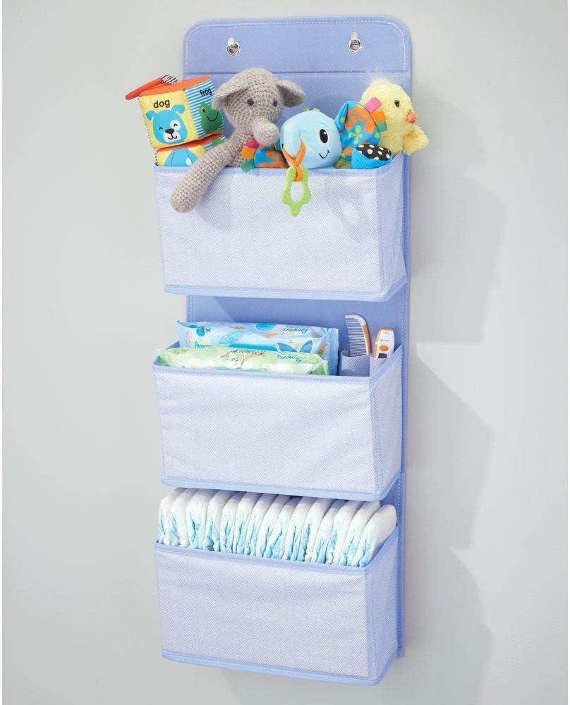 zapatos y ropa Organizador para colgar en el armario o puerta mDesign Colgador de armario con 3 bolsillos Organizador de accesorios gris//blanco