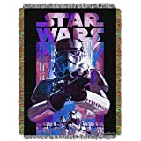 ON 1 Piece 48'' x 60'' Red Star Wars Theme Throw Blanket, Storm Trooper Darth Vader C-3PO Movie Characters Space Galaxy Light Saber TIE Fighter Millennium Falcon Drones Jedi R2-D2, Polyester