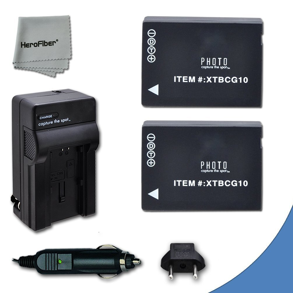 2 High Capacity Replacement Panasonic DMW-BCG10 Batteries with AC/DC Quick Charger Kit for Lumix DMC-TZ6,TZ10, TZ18, TZ19, TZ20, TZ25, TZ30, TZ35, ZR1, ZR3, ZS1, ZS5, ZS7, ZS8, ZS9, ZS10, ZS15, ZS19…