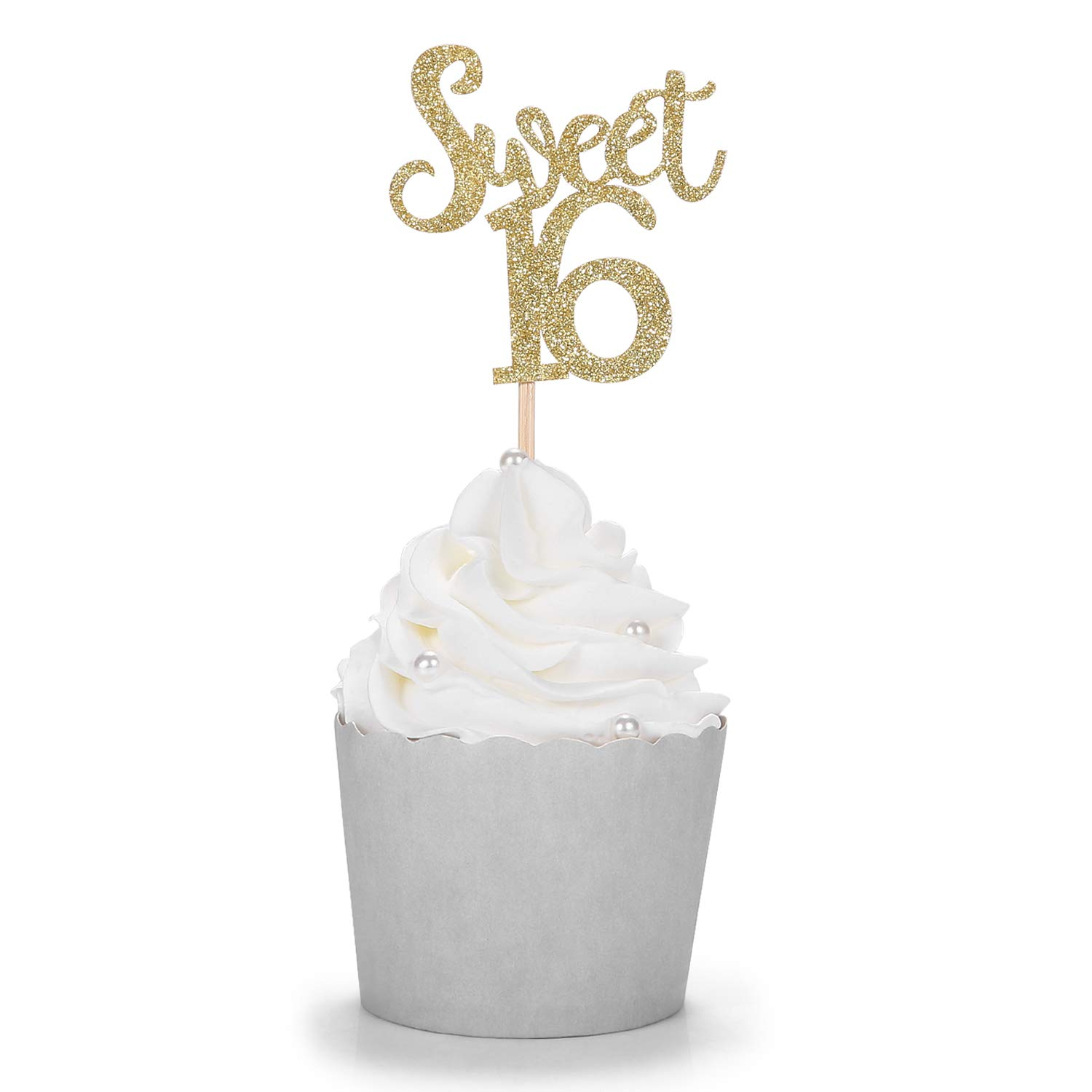 Gold Glitter Sweet 16 Cupcake Toppers Handcrafted 16th Birthday Party Decors