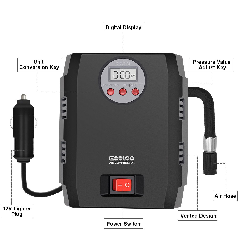 gooloo portátil inflador de neumáticos bomba de compresor de aire eléctrico 12 V DC Auto a 150 PSI: Amazon.es: Coche y moto
