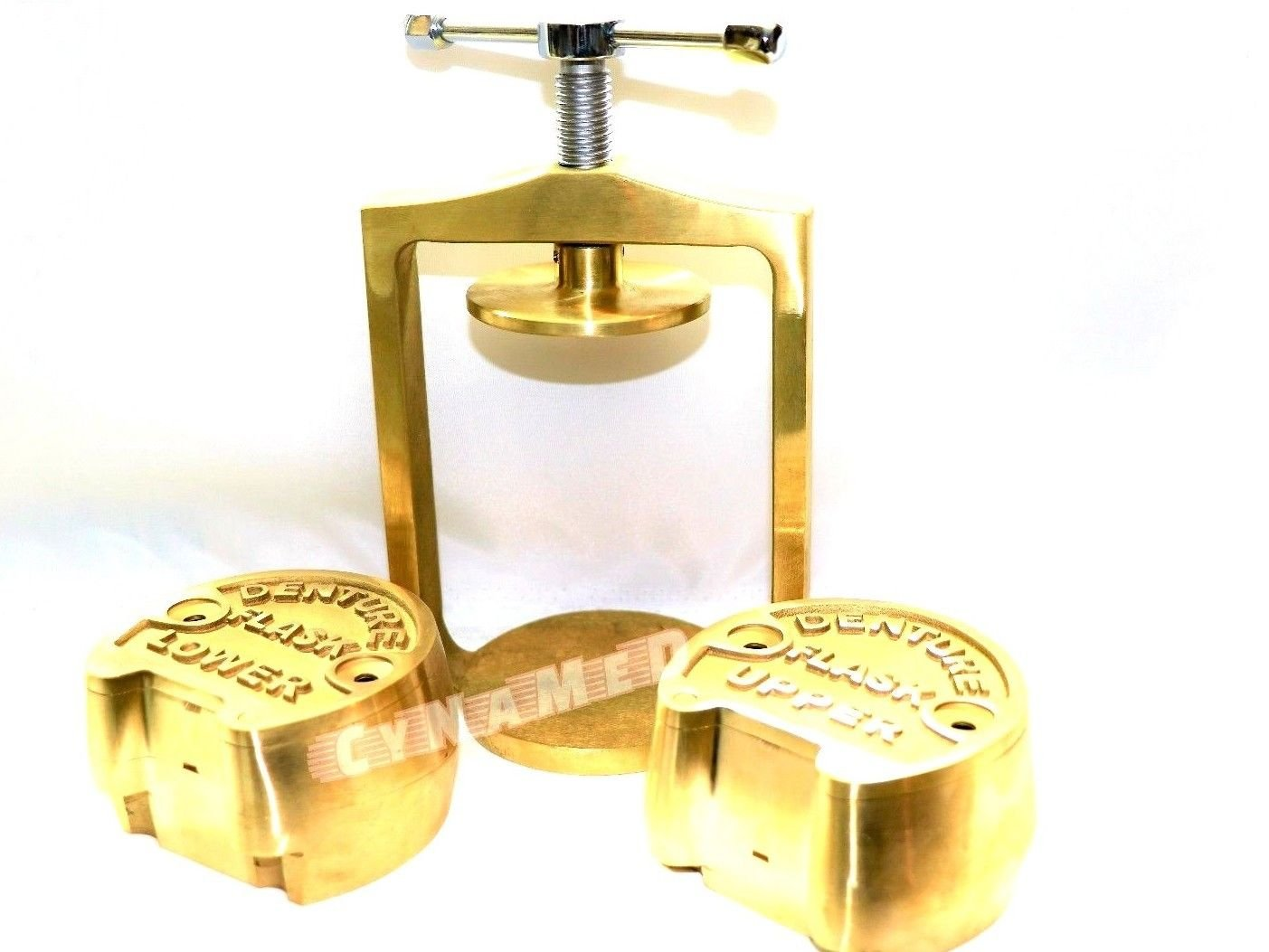 DENTAL LABORATORY SPRING PRESS COMPRESS WITH TWO FLASK ORIGINAL BRASS - 3 PIECES ( CYNAMED )