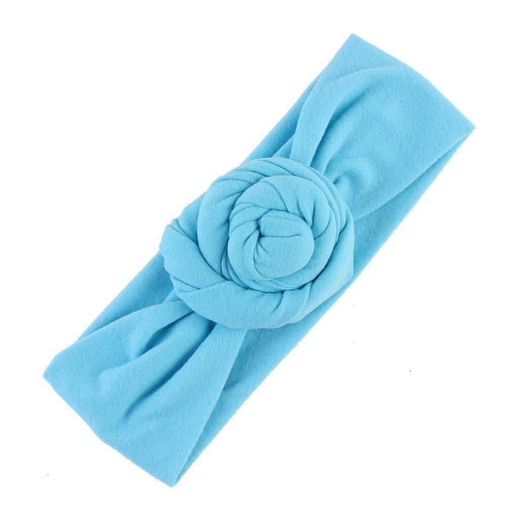 NUWFOR Cute Kids Girls Baby Toddler Turban Knot Headband Hair Band Accessories Headwear Blue