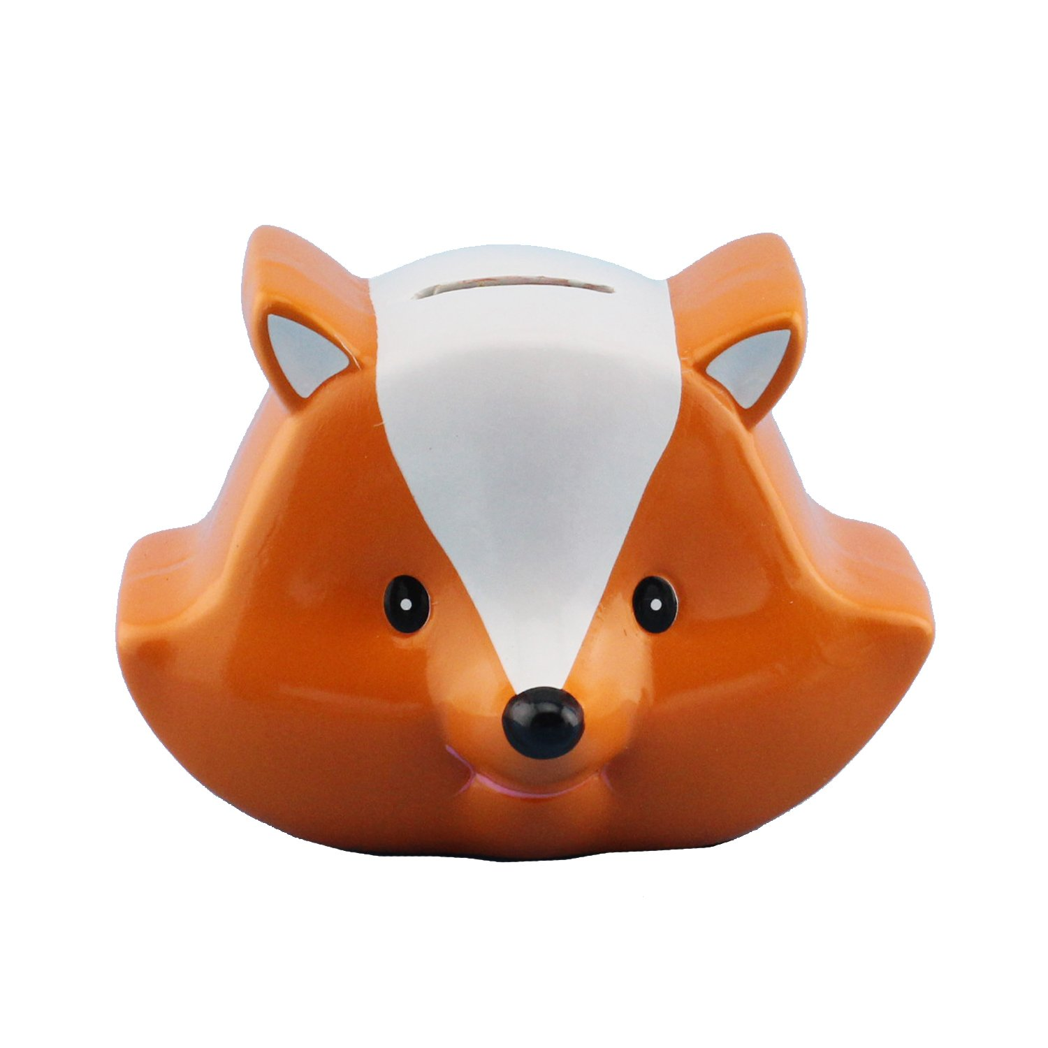 Ceramic Fox Children Gift Coin Bank in Orange and White