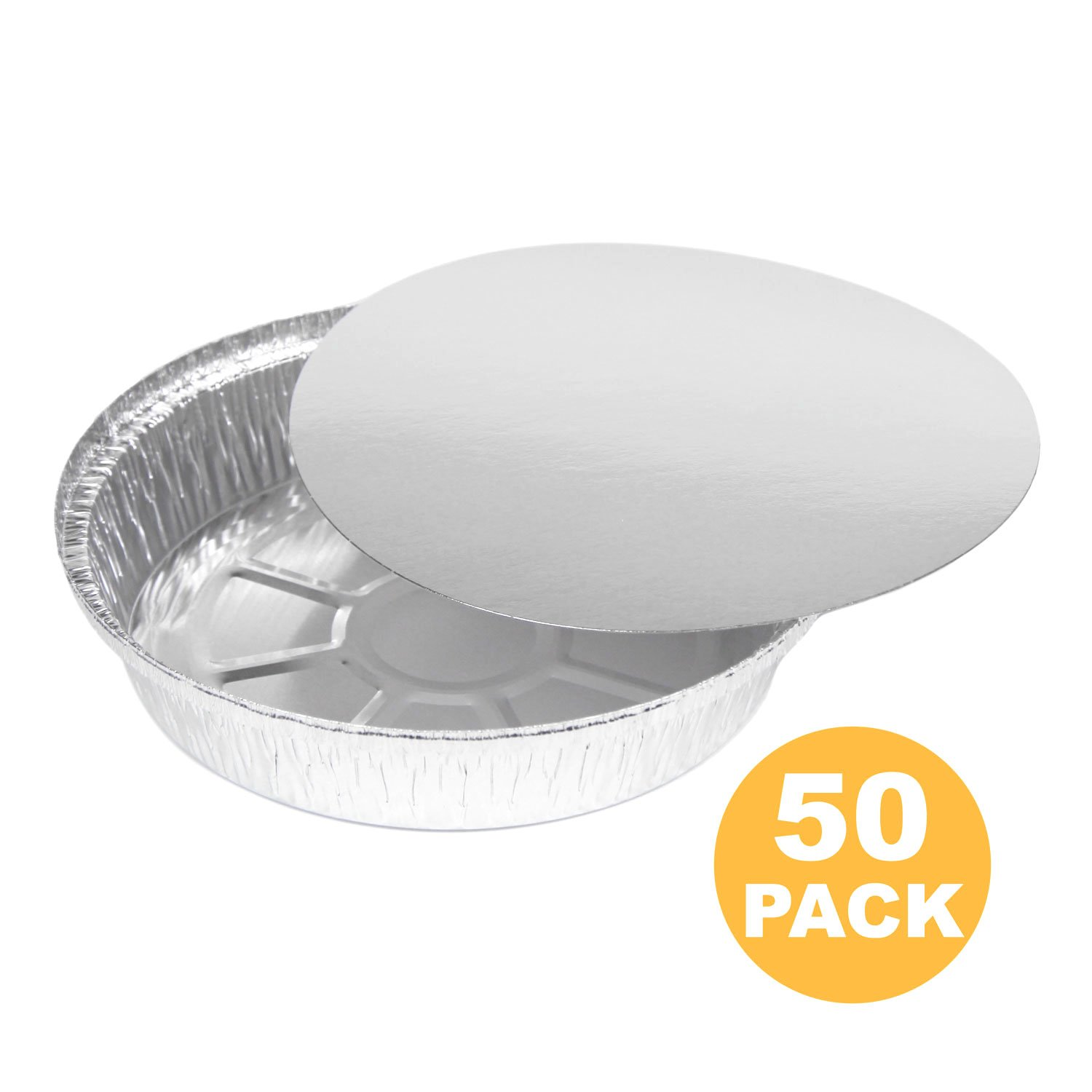 Round 8 Inch 37 oz, 2.3 lb, 1.1 Quart Disposable Aluminum Foil Pan Take Out Food Containers with Flat Board Lids, Steam Table Hot Cold Freezer Roasting Baking Oven Safe [50 Pack] by Fit Meal Prep