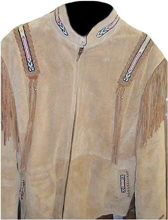 Classyak Hombres de Western Cowboy Top Calidad Chaqueta de Piel de Ante: Amazon.es: Ropa y accesorios