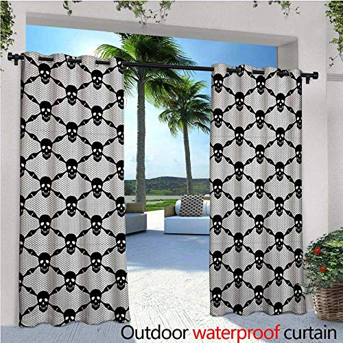 Gothic Exterior/Outside Curtains Halloween Horror Theme Spooky Black Skulls Checkered Pattern with Skeleton Bones for Patio Light Block Heat Out Water Proof Drape W96 x L84 Black White for $<!--$65.90-->