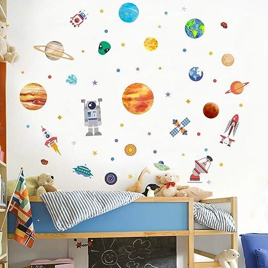 Space Rocket Planets Solar System Satelit Custom Name Vinyl Wall Decal Sticker
