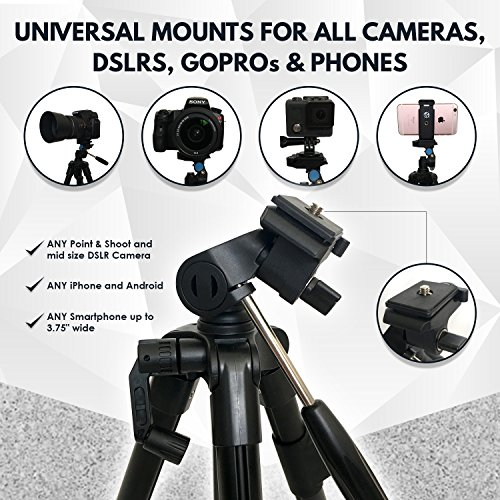 Lightweight Travel Tripod 48 Inch | Bluetooth Remote, Phone Mount, GoPro Mount, Carrying Bag | Premium Aluminum | Digital Camera, Android, DSLR, iPhone X, 8, 7, 6 Plus, Samsung Galaxy | Photo, Video by Explore More Creative Co. (Image #3)