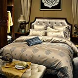 French style luxury bedding collection comforter set duvet cover double bed sheet wedding festive decoration 6 Pieces-A King