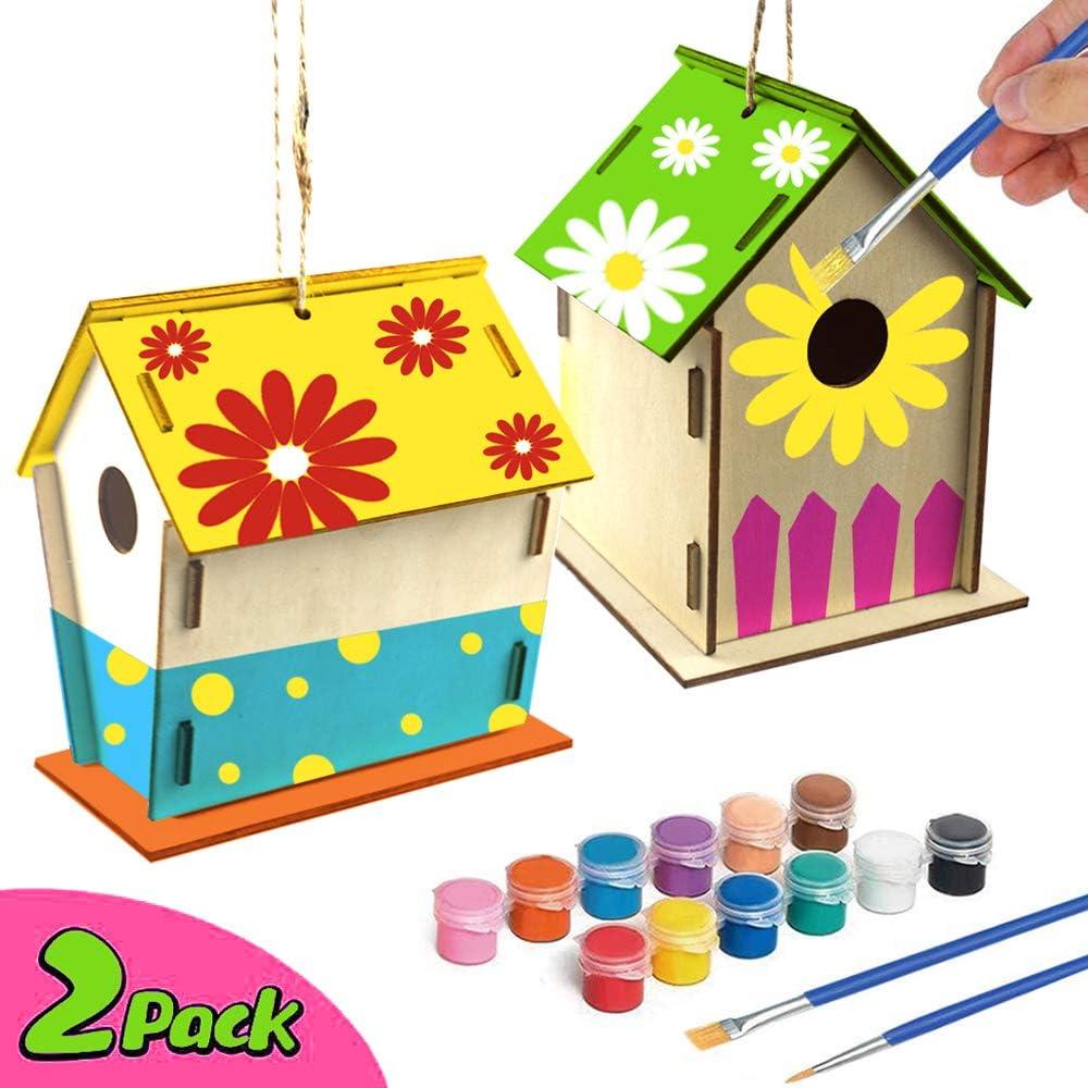 Decdeal 2PCS Decoración Doméstica de Madera DIY Manual La Casa Pintada del Pájaro Adecuado para niños de 4-8 años