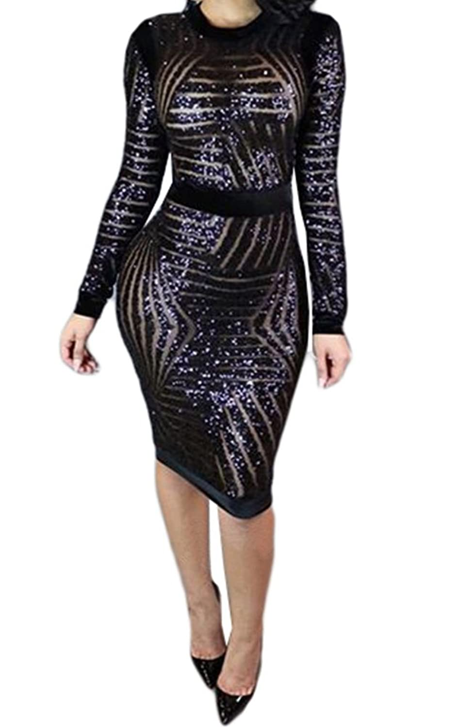 Women Sexy Sequin Mesh Long Sleeve Scoop Neck Bodycon Clubwear Party Midi Dress