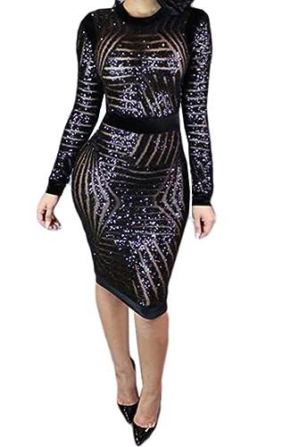 Women Sexy Sequin Mesh Long Sleeve Scoop Neck Bodycon Clubwear Party Midi Dress