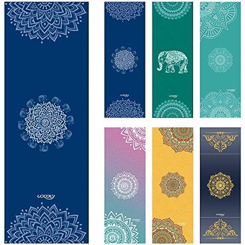 (UCOOLY Yoga Towel,Microfiber Mat Towels w Smart Corner Pocket Elastic Loop,Non Slip,Super Soft Sweat Absorbent Towel for Hot Yoga,Pilates and Fitness 24x72 (Navy-Mandala))