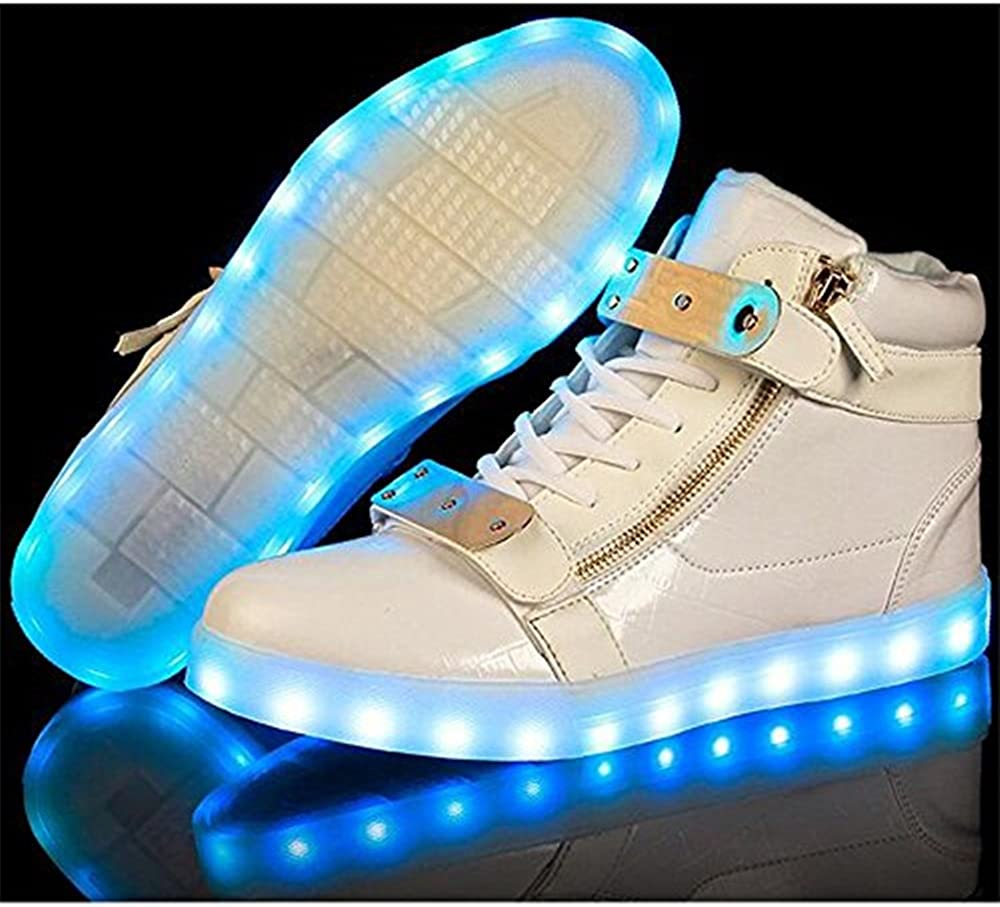 Rose town Unisex high-top Couple Side Zipper Sports Casual led Light Shoes