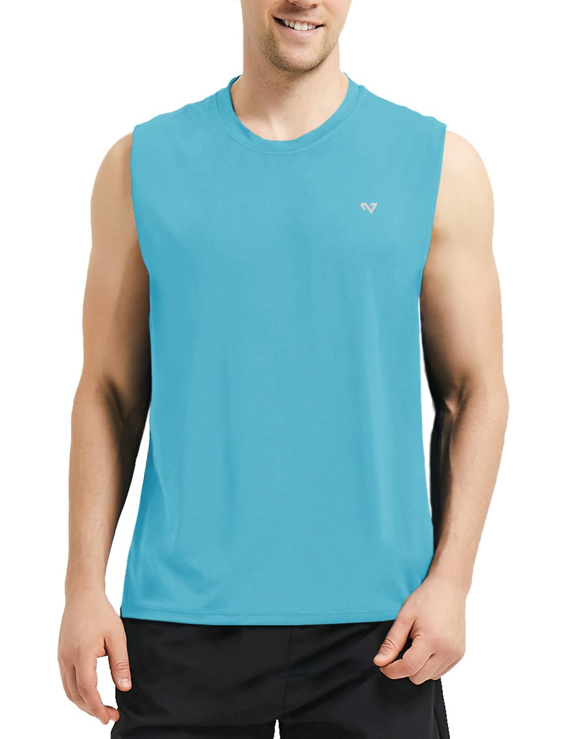 Roadbox Men's Performance Sleeveless Workout Muscle Bodybuilding Tank Tops Shirts Bright Blue by Roadbox