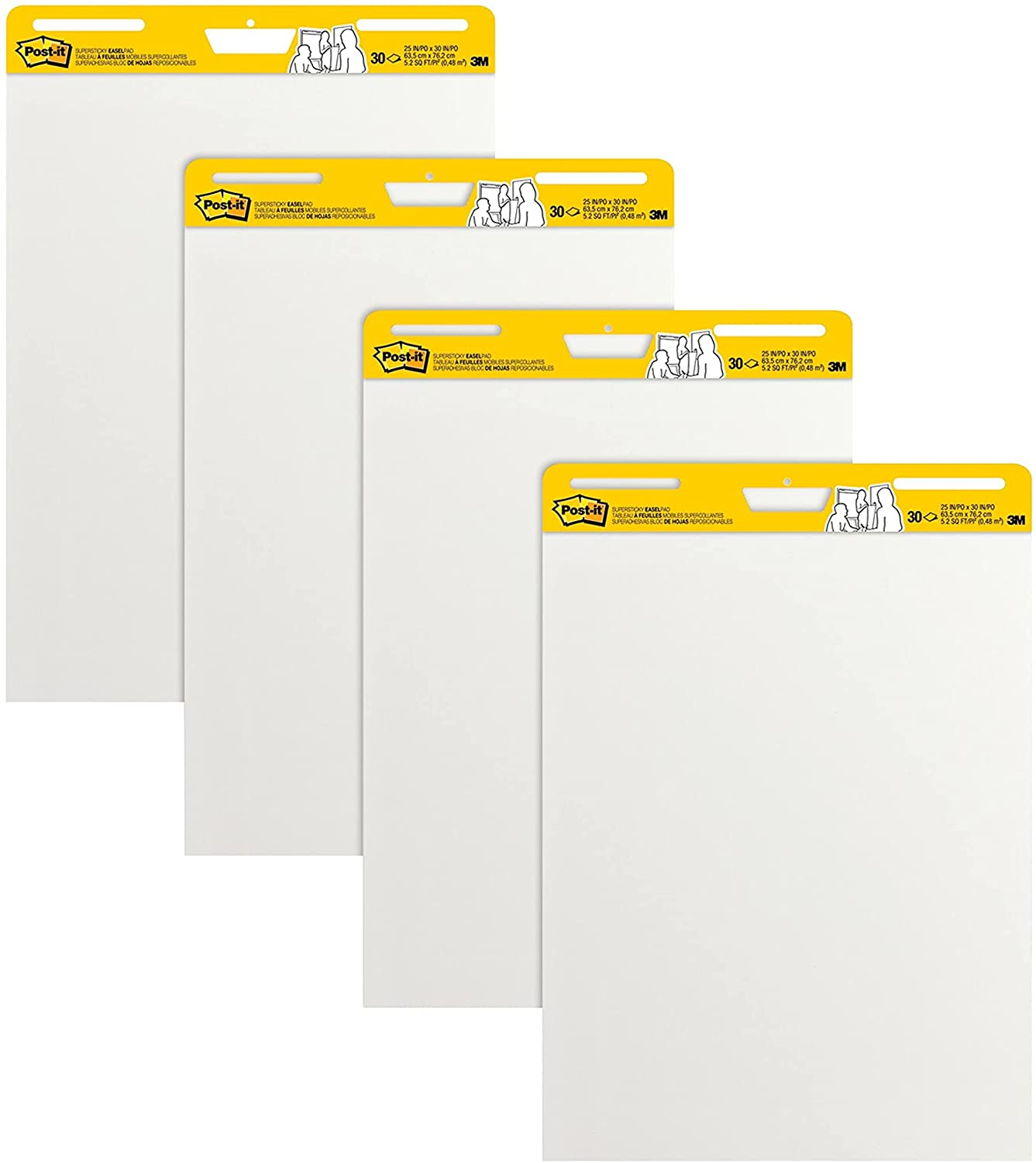 Post-it Super Sticky Easel Pad, 25 x 30 Inches, 30 Sheets/Pad, 4 Pads, Large White Premium Self Stick Flip Chart Paper, Super Sticking Power (559-4) : Post It Flip Charts : Office Products