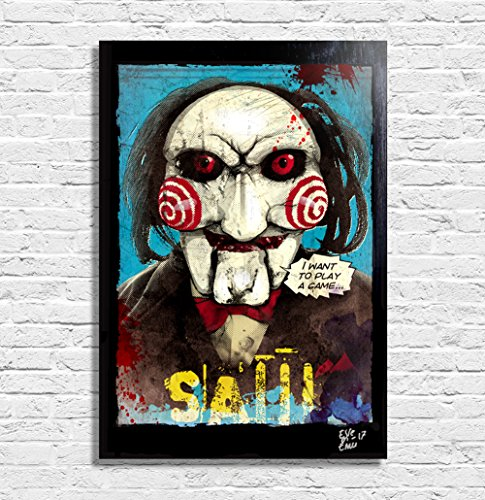 Billy the puppet from Saw movies  - Pop-Art Original Framed
