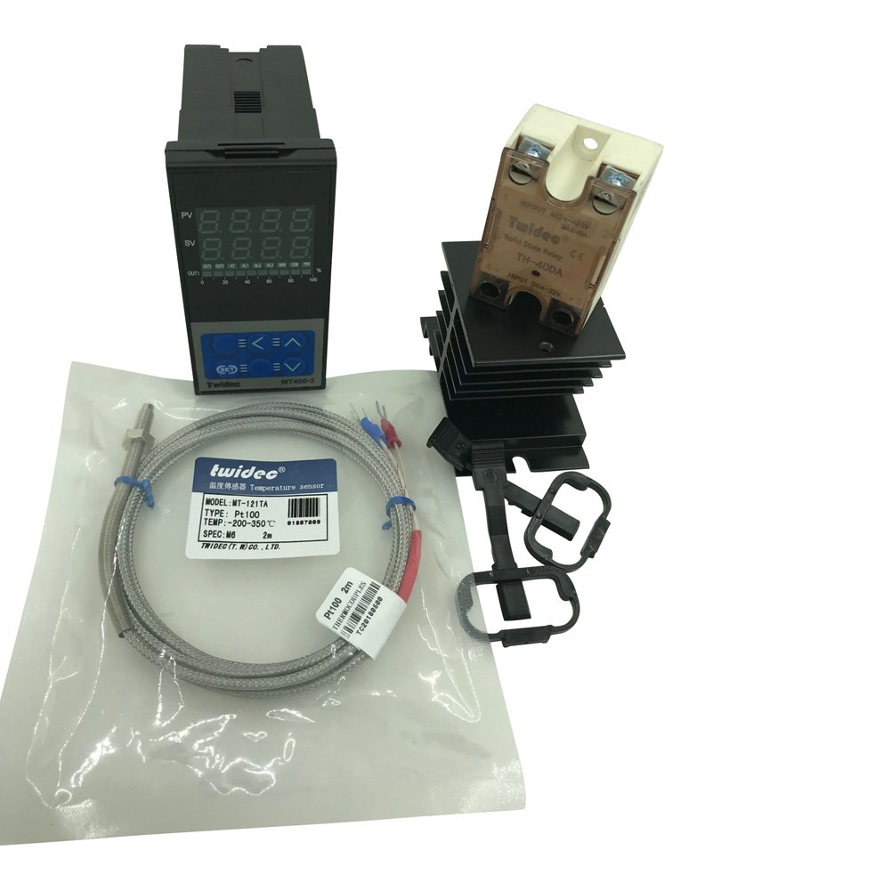 Twidec MT400-2 PID Temperature controller, 90-240VAC, 0-400 °C, Input:PT100, Output: SSR(DC12V);PT100 screw probe, probe lead length 2M(78.74 inches);TH-40DA SSR 40A;Black heat sink