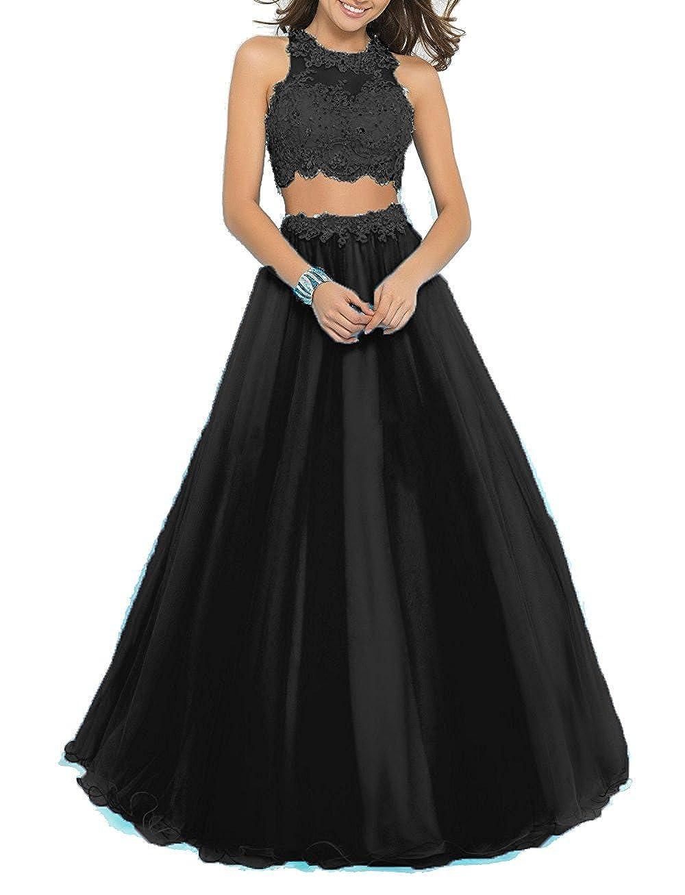 36da95eb29 Amazon.com  BessDress Two Piece Lace Bodice Long Prom Dresses Beads  Homecoming Dresses BD016  Clothing