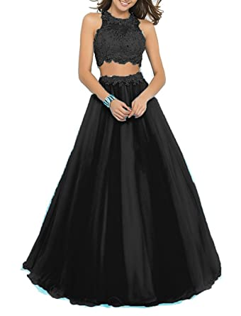 22ab0deec Amazon.com: BessDress Two Piece Lace Bodice Long Prom Dresses Beads  Homecoming Dresses BD016: Clothing