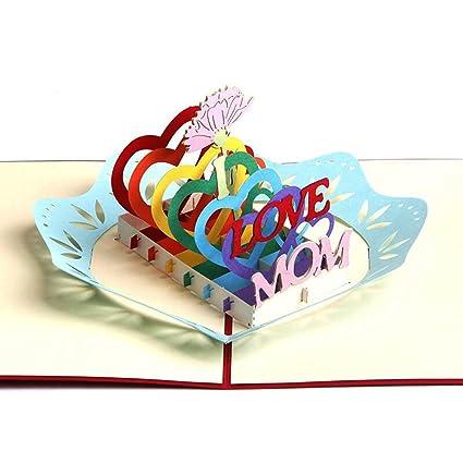 Amazon Com Mother S Birthday Cards I Love Mom Handmade Colorful