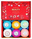 #3: Bath Bombs Gift Set for Women 6 Packs 3.0oz Natural Essential Oils & Dry Flower Spa Lush Bath Fizzies Great Gifts for Valentine Birthdays for Mom Teen Girls Kids Relaxation Moisturizing (S)