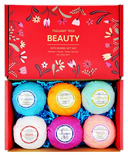 Bath Bombs Gift Set 6 Packs 3.0 oz Natural Essential Oils & Dry Flower Spa Lush Bath Fizzies Great Gifts for Women Mom Valentine Birthdays for Teen Girls Kids Relaxation Moisturizing