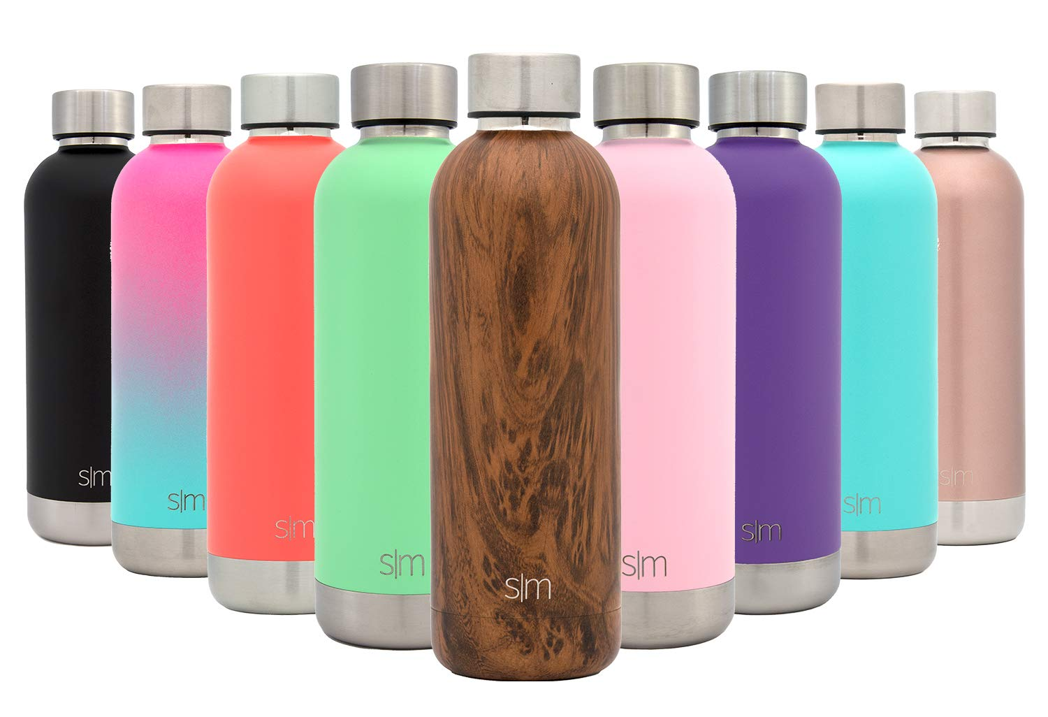 Simple Modern 12oz Bolt Water Bottle - Stainless Steel Hydro Kids Flask - Double Wall Vacuum Insulated Reusable Brown Small Metal Coffee Tumbler Leakproof Thermos - Wood Grain