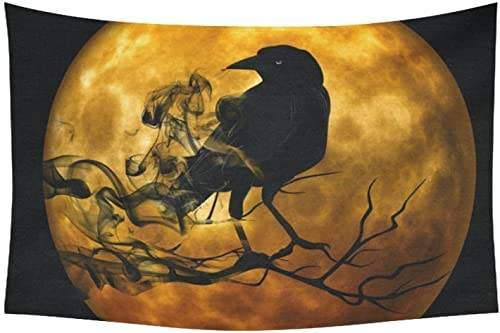 INTERESTPRINT AnnHomeArt Wall Tapestry Hanging Raven in The Moon Tapestry Picnic Beach Sheet Table Cloth 60 x 40