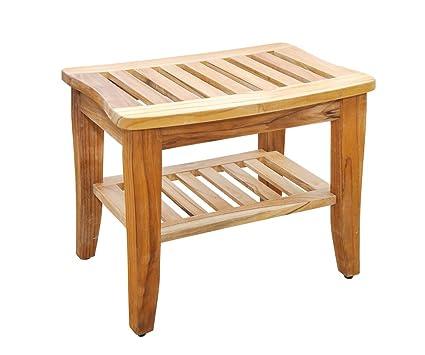 Sturdy Teak Shower Bench With Shelf And Rubber Feet, 20u0026quot; Long X  13.6u0026quot;