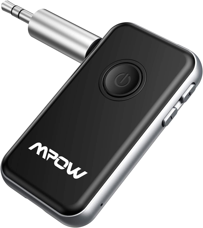 Mpow Transmisor Receptor Bluetooth 5.0 de , Emisor Bluetooth Audio 2 en 1 Adaptador sin Hilos del Audio de 3.5mm para Auriculares, Altavoz, TV, PC, Radios de Coches, MP3/4 etc
