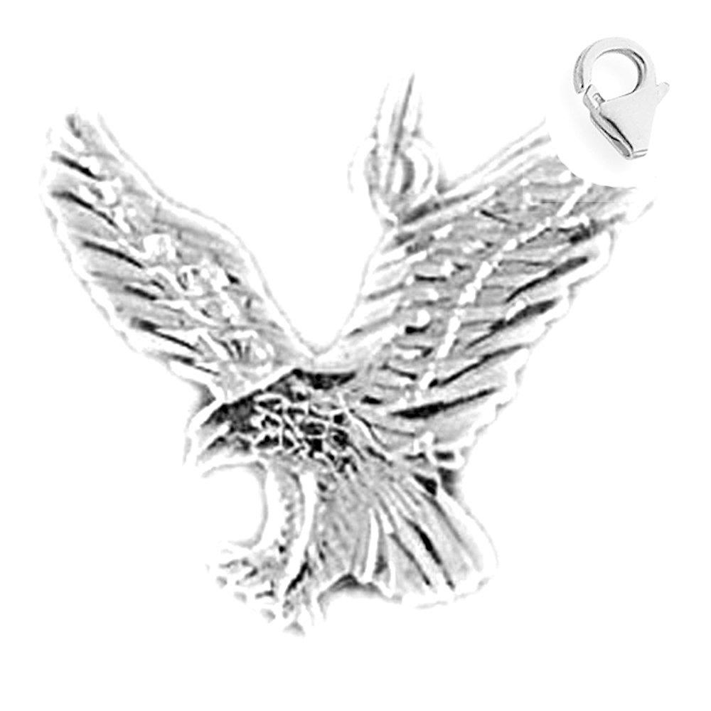 JewelsObsession Sterling Silver 16mm Eagle Charm w//Lobster Clasp