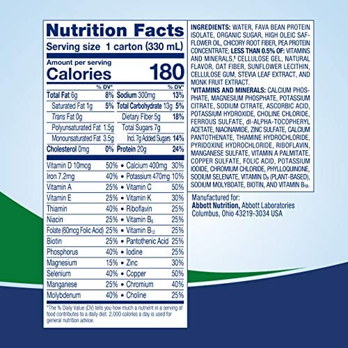 Ensure 100% Plant-Based Vegan Protein Nutrition Shakes with 20g Fava Bean and Pea Protein, Vanilla, 11 fl oz, 12 Count 5