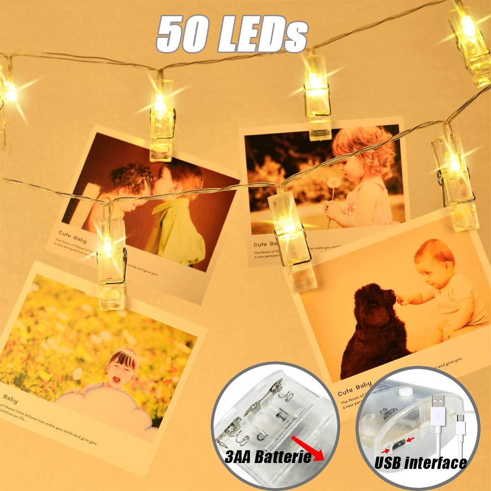 LED Clip Lichterkette 5M/50LED Foto Clip Lichterkette batterie/USB betrieben hä ngende Fotos Karte Party/Weihnachten/Hochzeit Dekoration Lichterketten (Warmes Gelb) TBoonor