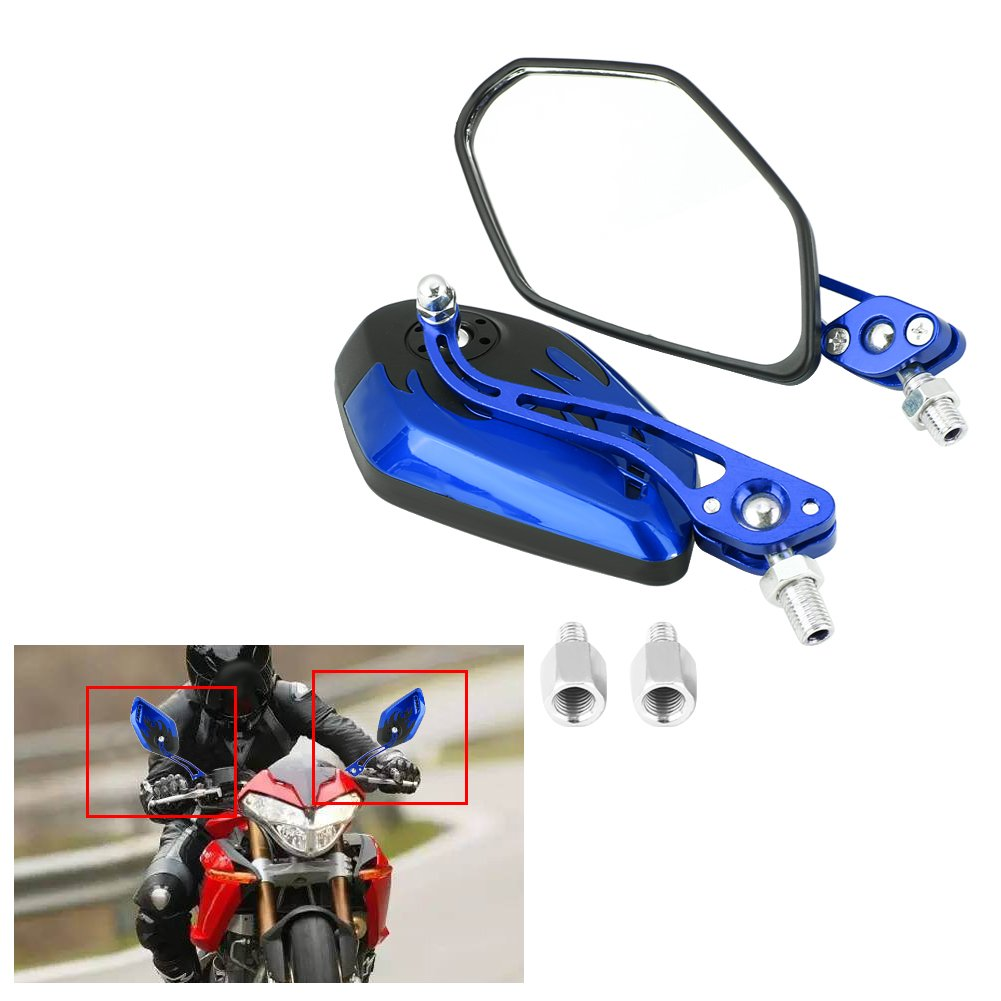 Blue Motorcycle Rearview Mirror 8mm 10mm Universal Flame Pattern 360 Degree Adjustable Side Rear View Mirrors for Motorcycles Scooters
