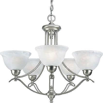 progress lighting p4068 09 5 light avalon chandelier brushed nickel