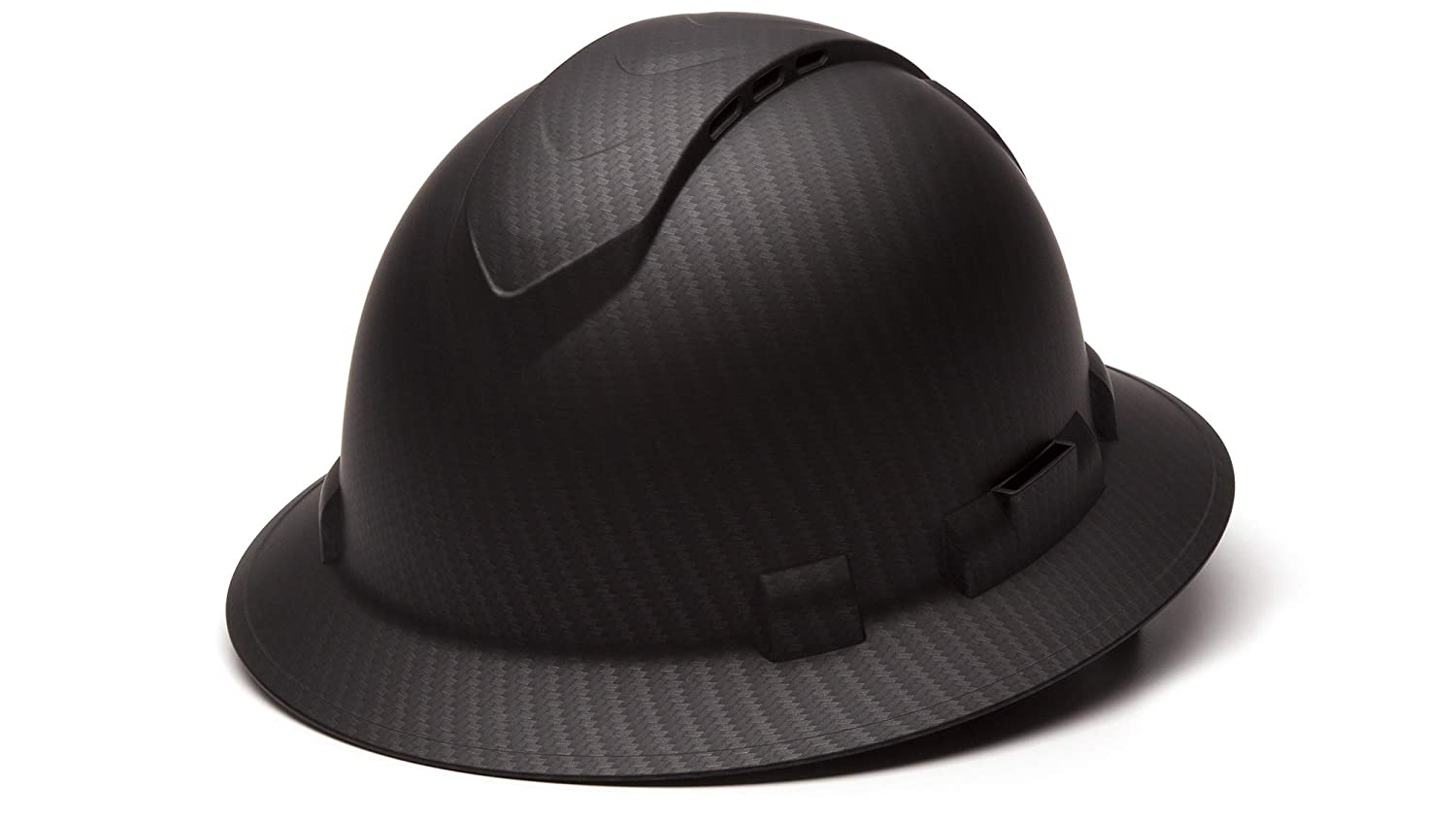 Pyramex Ridgeline Full Brim Hard Hat, Vented, 4-Point Ratchet Suspension, Matte Black Graphite Pattern