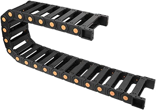 uxcell Drag Chain Cable Carrier Open Type with End Connectors R55 25X103mm 1 Meter Plastic for Electrical CNC Router Machines Black