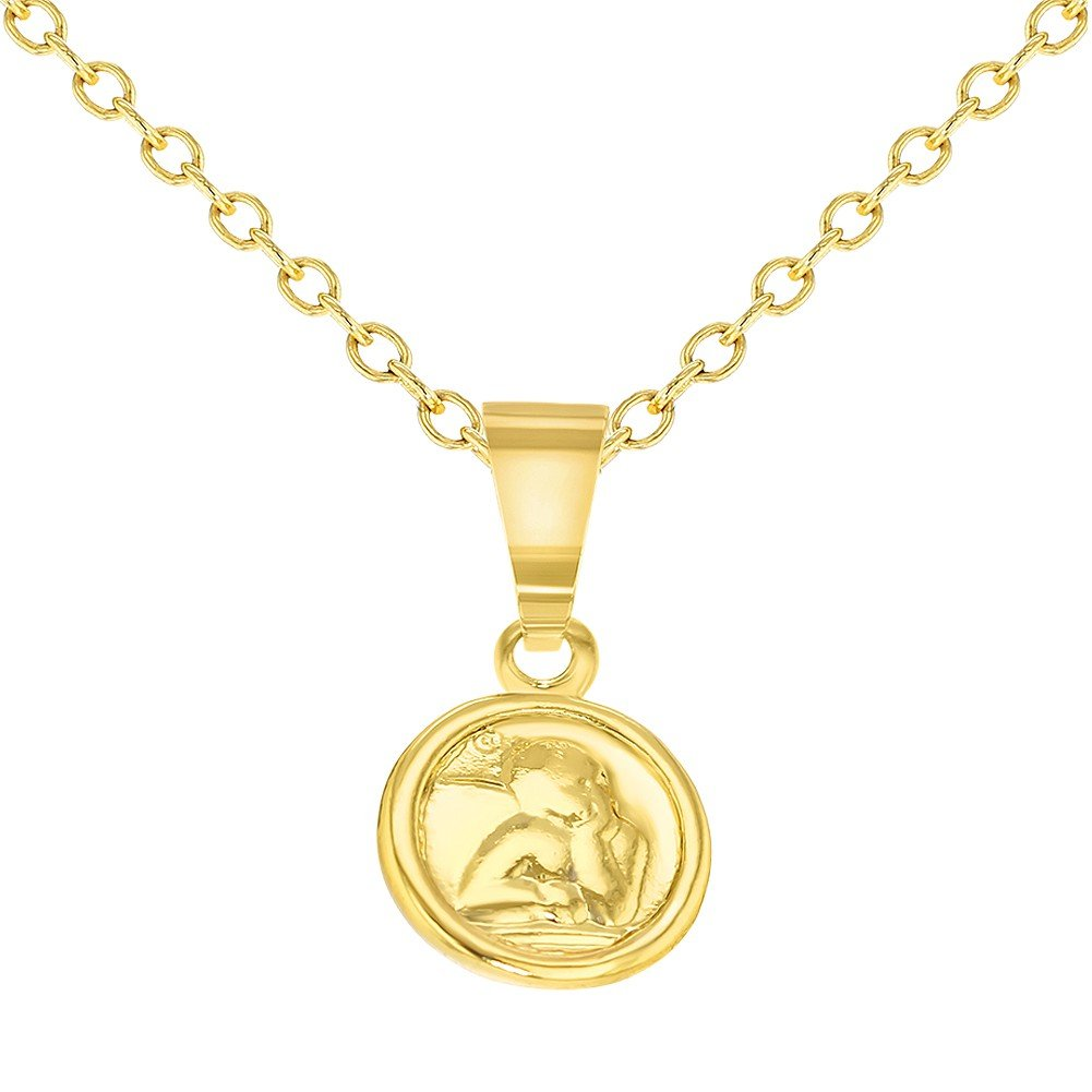 18k Gold Plated Tiny Little Guardian Angel Baby Pendant Necklace 16'' In Season Jewelry 12-0012-CA