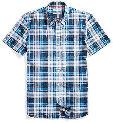 Goodthreads Men's Standard-Fit Short-Sleeve Lightweight Madras Plaid Shirt, Navy/Blue Plaid, X-Large]()