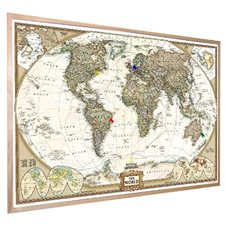 National geographic antique world pinboard map wood framed with flag national geographic antique world pinboard map wood framed with flag pins 36quot gumiabroncs Images