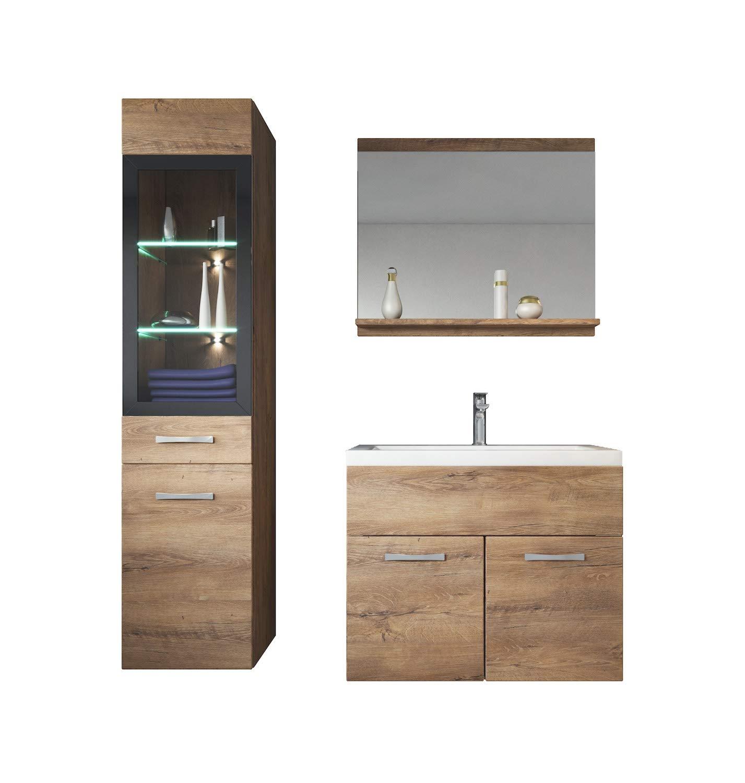 Badplaats Bathroom furniture set Rio 60cm basin Lefkas (brown) - Storage cabinet vanity unit sink furniture