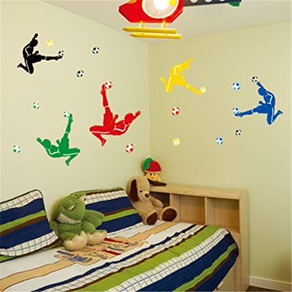 Playing Soccer Design Wall Decals Stickers DIY Removable Wall Decal ...
