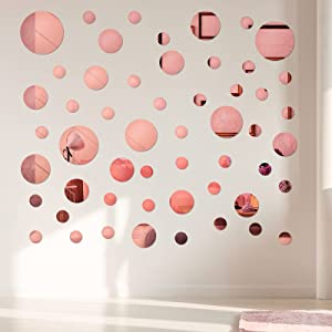 60 Pieces Acrylic Mirror Setting Round DIY Decor Tiles Adhesive Wall Sticker Decal for Bedroom Wall Decor Mirror Living Dining Room Art Background Decoration (Rose Gold)